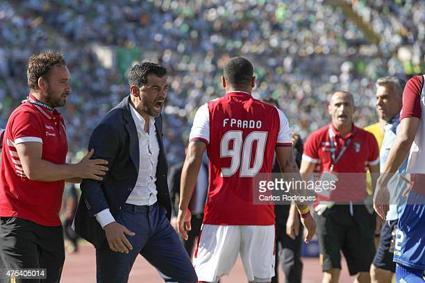 Braga's coach Sergio Conceicao celebrating Bragas goal during the Portuguese Cup Final between Sporting CP and SC Braga at Estadio Nacional on May 31...