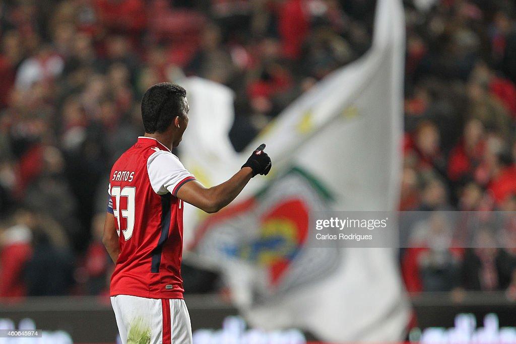 Braga's defender Aderlan Santos celebrates scoring Braga«s first goal during the Portuguese Cup match between SL Benfica and SC Braga at Estadio da Luz on December 18, 2014 in Lisbon, Portugal.