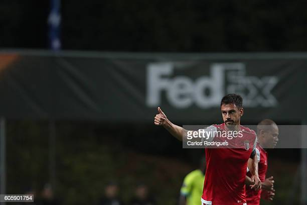 Braga's defender Andre Pinto from Portugal celebrates scoring Braga's goal during the UEFA Europe League match between SC Braga v KAA Gent at Estadio...