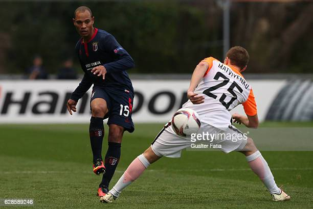 Braga's defender Baiano from Brazil in action during the UEFA Europa League match between SC Braga and FC Shakhtar Donetsk at Estadio Municipal de...