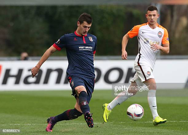 Braga's defender Lazar Rosic from Serbia in action during the UEFA Europa League match between SC Braga and FC Shakhtar Donetsk at Estadio Municipal...