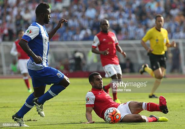 Braga's defender Marcelo Goiano with FC Porto's forward Silvestre Varela in action during the Portuguese Cup Final match between FC Porto and SC...