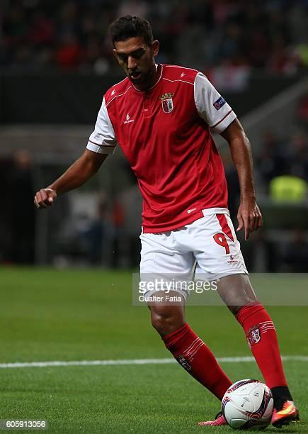 Braga's Egiptian forward Ahmed Hassan in action during the UEFA Europa League match between SC Braga and KAA Gent at Estadio Municipal de Braga on...