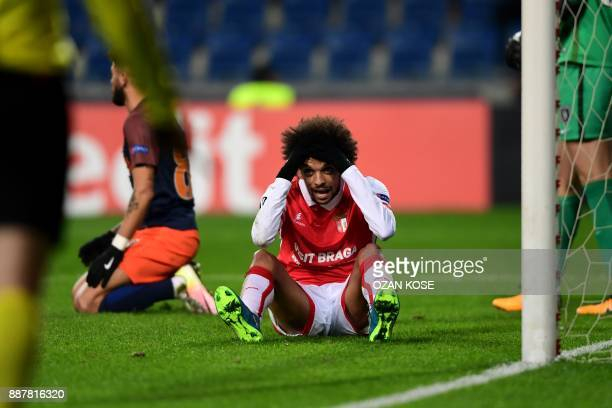 Braga's Fabio Martins reacts after missing a goal opportunity during the UEFA Europa League Group C football match between Istanbul Basaksehir FK and...