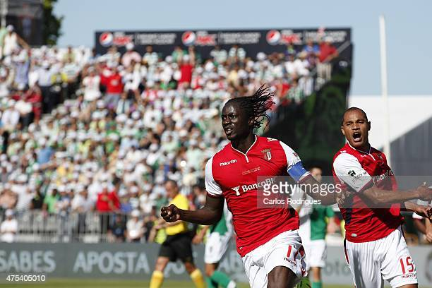 Braga's forward Eder celebrating Bragas goal during the Portuguese Cup Final between Sporting CP and SC Braga at Estadio Nacional on May 31 2015 in...