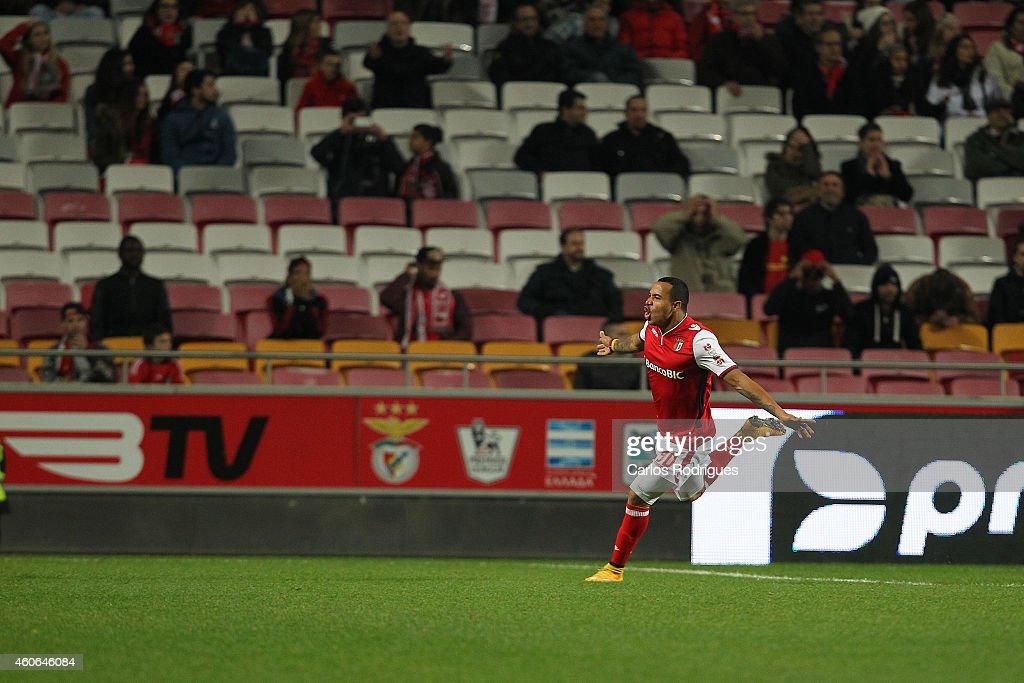 Braga's forward Felipe Pardo celebrates scoring Braga«s second goal during the Portuguese Cup match between SL Benfica and SC Braga at Estadio da Luz on December 18, 2014 in Lisbon, Portugal.