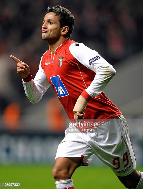 SC Braga's forward from Brazil Matheus Nascimento celebrates after scoring against Arsenal during their UEFA Champions League football match at the...