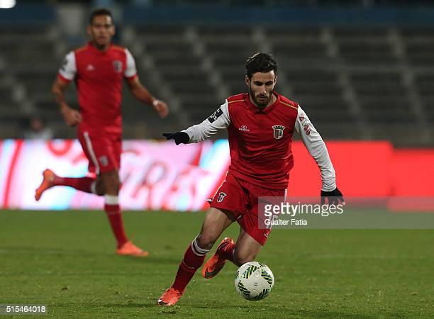 BragaÕs forward Rafa Silva in action during the Primeira Liga match between Os Belenenses and SC Braga at Estadio do Restelo on March 13 2016 in...