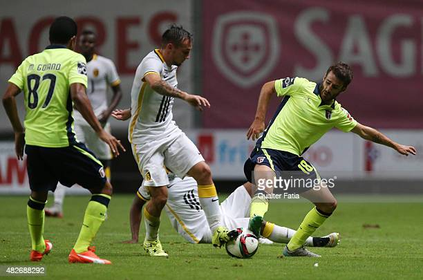 Braga's forward Rafa with LOSC Lille's forward Bautheac in action during the preseason friendly between SC Braga and LOSC Lille at Estadio Municipal...