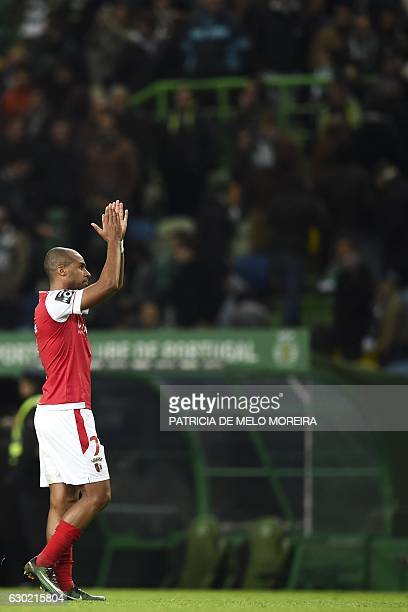 Braga's forward Wilson Eduardo celebrates at the end of the Portuguese league football match Sporting CP vs Sporting Braga at the Jose Alvalade...