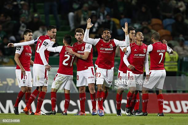 Braga's forward Wilson Eduardo celebrates his goal with his teammates during Premier League 2016/17 match between Sporting CP vs Vitoria FC in Lisbon...