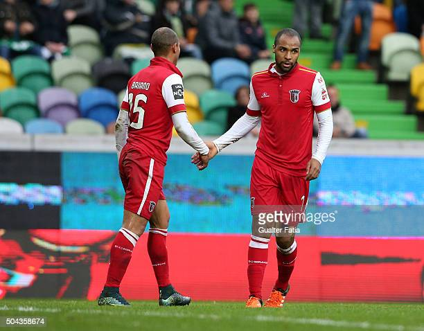 Braga's forward Wilson Eduardo celebrates with teammate Baiano after scoring a goal during the Primeira Liga match between Sporting CP and SC Braga...