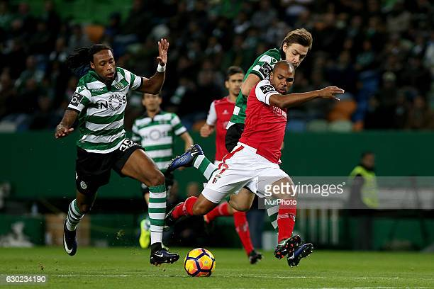 Bragas forward Wilson Eduardo from Portugal and Sportings defender Ruben Semedo from Portugal during Premier League 2016/17 match between Sporting CP...