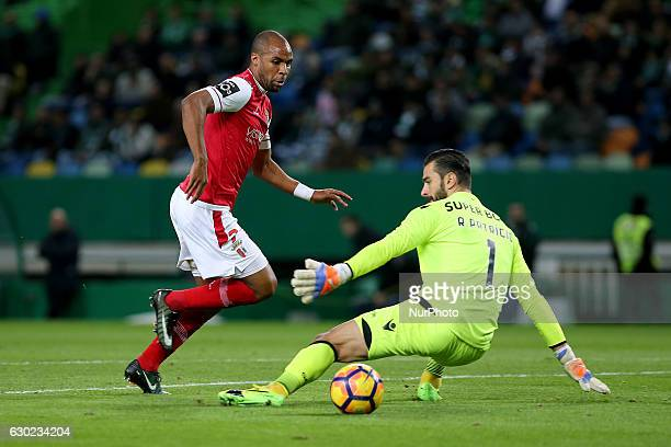 Bragas forward Wilson Eduardo from Portugal and Sportings goalkeeper Rui Patricio from Portugal during Premier League 2016/17 match between Sporting...