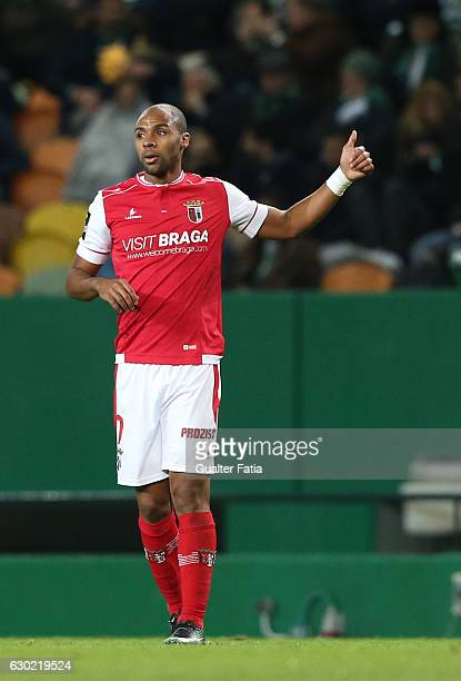 Braga's forward Wilson Eduardo from Portugal celebrates after scoring a goal during the Primeira Liga match between Sporting CP and SC Braga at...