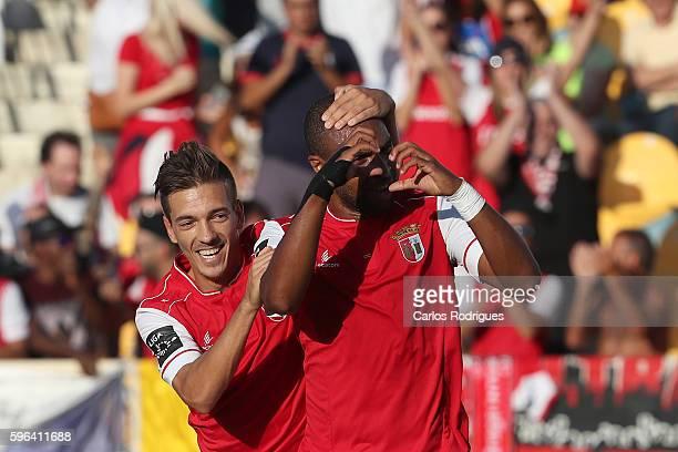 Braga's forward Wilson Eduardo from Portugal celebrates scoring Braga«s second goal with Braga's midfielder Pedro Santos from Portugal during the...