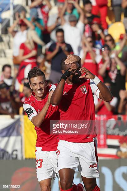 Braga's forward Wilson Eduardo from Portugal celebrates scoring Braga's second goal with Braga's midfielder Pedro Santos from Portugal during the...