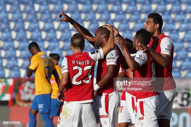 Braga's forward Wilson Eduardo from Portugal celebrates scoring Braga's second goal with his team mates during the match between Estoril Praia SAD...