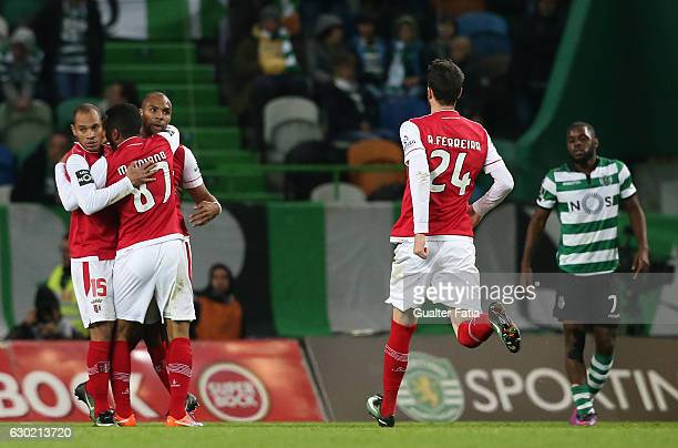 Braga's forward Wilson Eduardo from Portugal celebrates with teammates after scoring a goal during the Primeira Liga match between Sporting CP and SC...