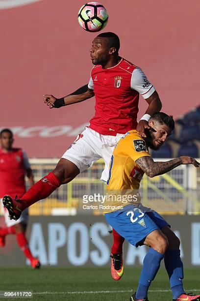 Braga's forward Wilson Eduardo from Portugal higher that Estoril's defender Lucas Farias from Brazil heads the ball during the match between Estoril...