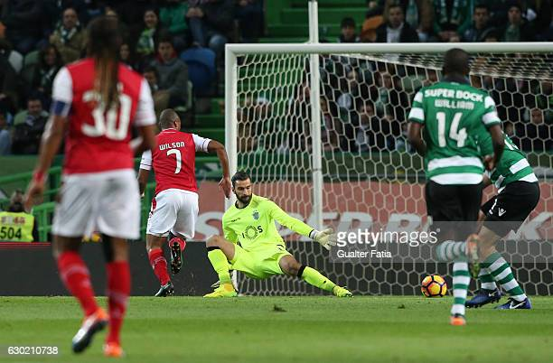 Braga's forward Wilson Eduardo from Portugal misses goal opportunity during the Primeira Liga match between Sporting CP and SC Braga at Estadio Jose...
