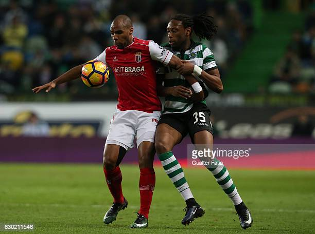 Braga's forward Wilson Eduardo from Portugal with Sporting CP's defender Ruben Semedo in action during the Primeira Liga match between Sporting CP...