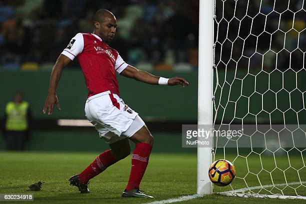 Braga's forward Wilson Eduardo shoots the ball during the Portuguese League football match between Sporting CP and SC Braga at Jose Alvalade Stadium...