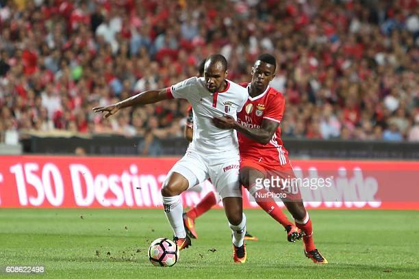 Braga's forward Wilson Eduardo vies with Benfica's defender Nelson Semedo during the Portuguese League football match SL Benfica vs SC Braga at Luz...