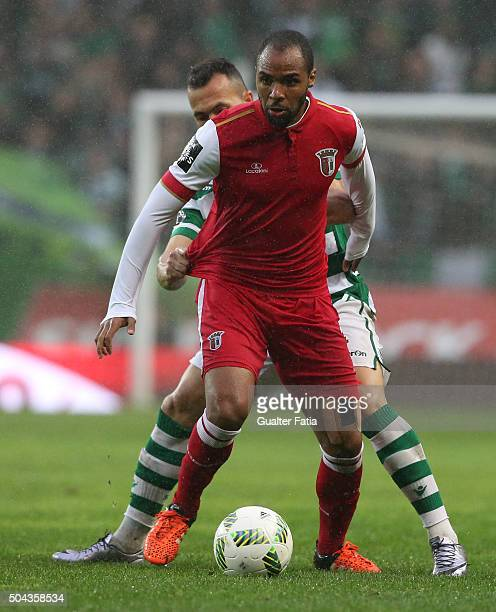 Braga's forward Wilson Eduardo with Sporting CP's defender Jefferson in action during the Primeira Liga match between Sporting CP and SC Braga at...