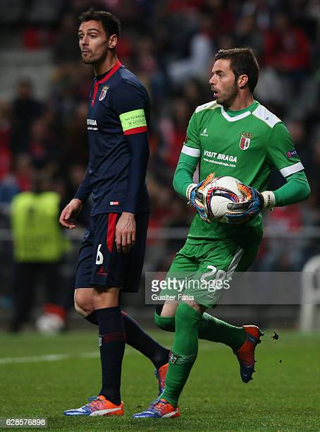 Braga's goalkeeper Carlos Marafona from Portugal in action during the UEFA Europa League match between SC Braga and FC Shakhtar Donetsk at Estadio...