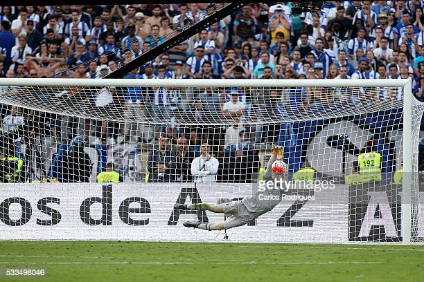 Braga's goalkeeper Marafona saves the penalty kick that gives the winning the match between FC Porto and SC Braga for the Portuguese Cup Final at...