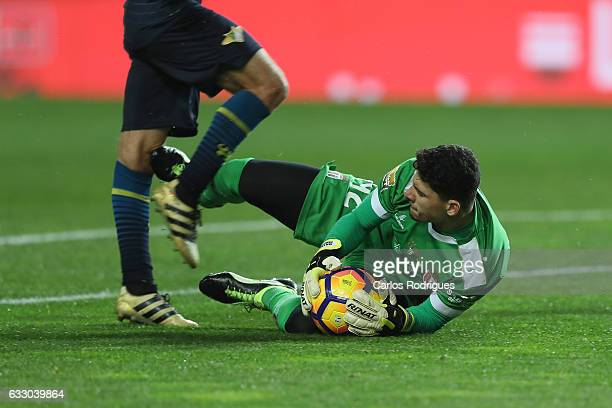 Braga's goalkeeper Matheus Magalhaes from Brazil tackles Moreirense«s midfielder Francisco Gerald's from Portugal during the Portuguese League Cup...