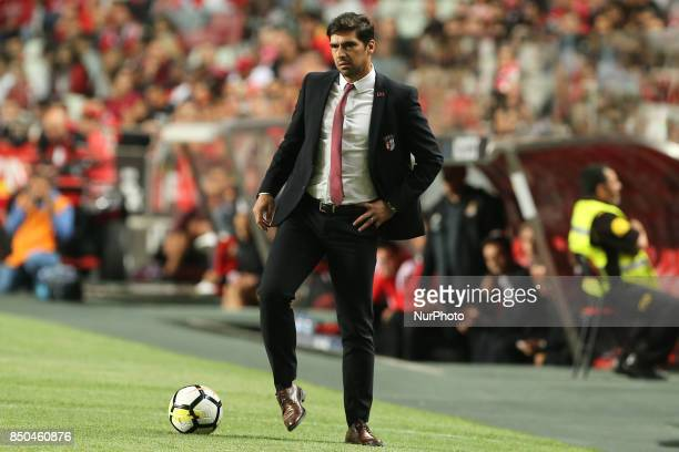 Bragas head coach Abel Ferreira from Portugal during the Portuguese Cup 2017/18 match between SL Benfica v SC Braga at Luz Stadium in Lisbon on...