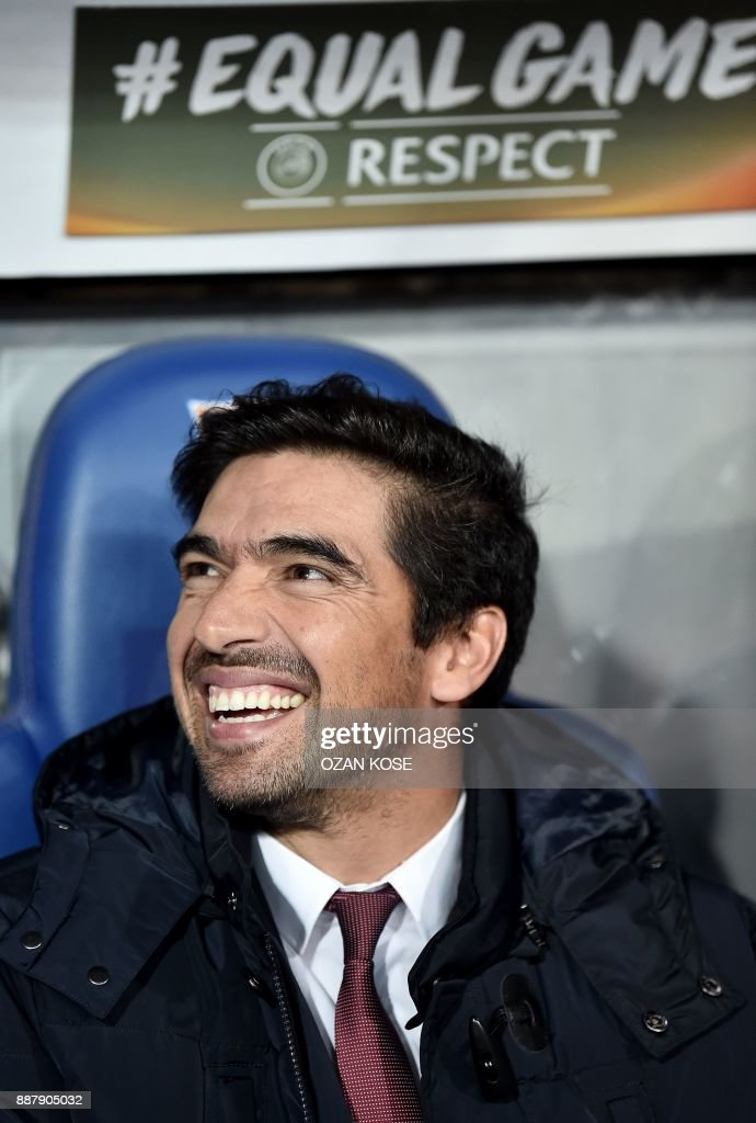 Braga's head coach Abel Ferreira smiles during the UEFA Europa League Group C football match between Istanbul Basaksehir FK and SC Braga at the Fatih Terim Stadium in Istanbul, on December 7, 2017. /