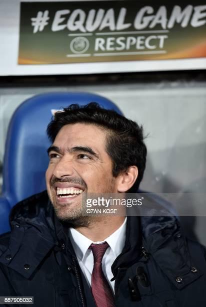 Braga's head coach Abel Ferreira smiles during the UEFA Europa League Group C football match between Istanbul Basaksehir FK and SC Braga at the Fatih...