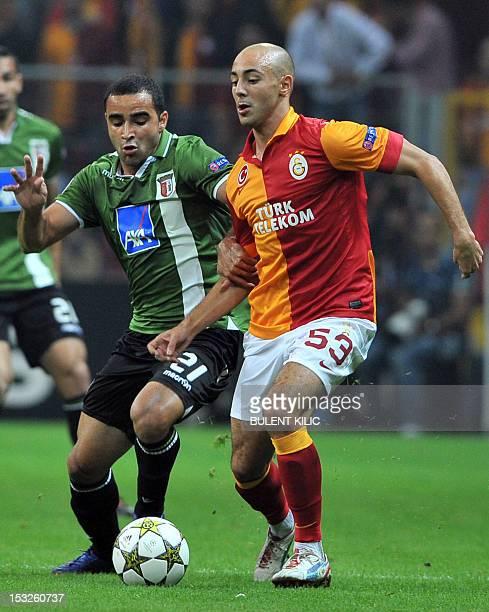 SC Braga's Ismaily vies with Galatasaray's Nordin Amrabat during their Champions League group H match Galatasaray versus SC Braga at Turk Telekom...