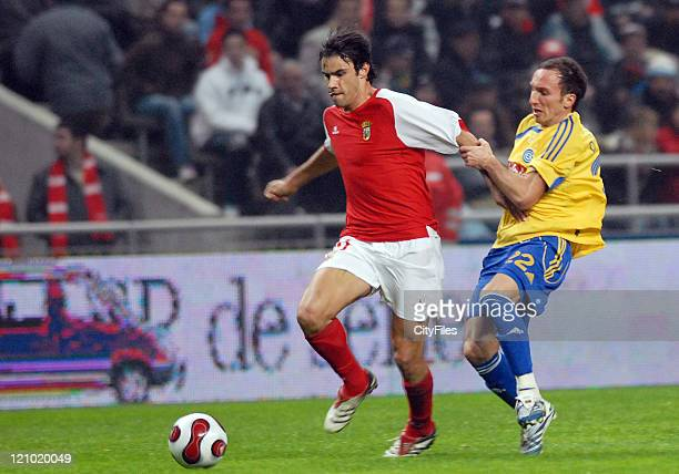 Braga's Luis Filipe and Grasshopper's Roberto Pinto in action during the UEFA Cup Group C match between SC Braga and the Grasshoppers at the Estadio...