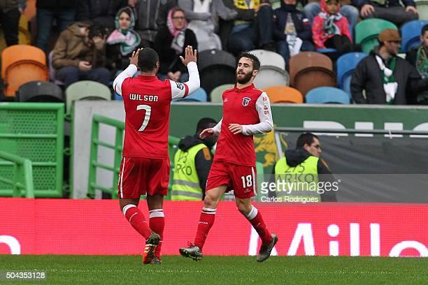 Braga's midfielder Rafa Silva celebrates scoring Braga«s second goal with Braga's forward Wilson Eduardo during the match between Sporting CP and SC...