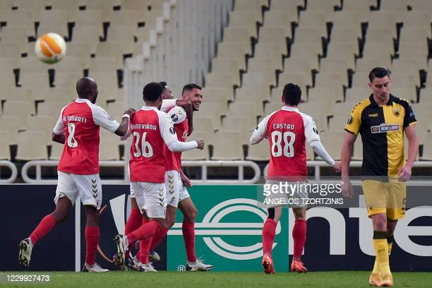 Braga's players celebrate after scoring a goal during the UEFA Europa League Group G football match between AEK Athens and Sporting Braga, at The...