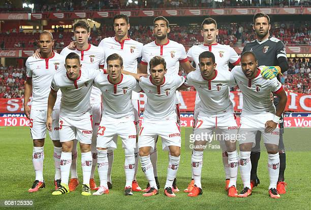 Braga's players pose for a team photo before the start of the Primeira Liga match between SL Benfica and SC Braga at Estadio da Luz on September 19...