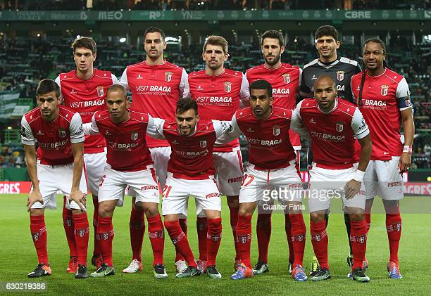 Braga's players pose for a team photo before the start of the Primeira Liga match between Sporting CP and SC Braga at Estadio Jose Alvalade on...