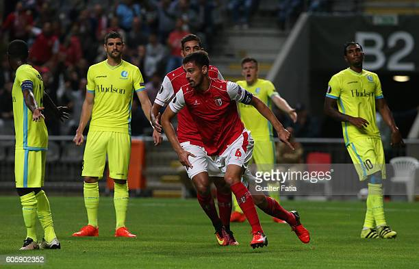 Braga's Portuguese defender Andre Pinto celebrates after scoring a goal during the UEFA Europa League match between SC Braga and KAA Gent at Estadio...