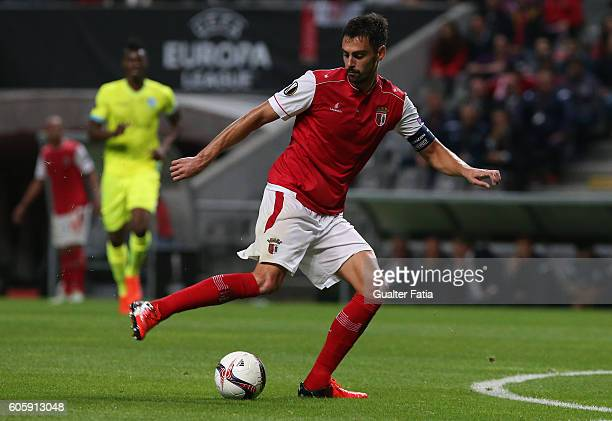 Braga's Portuguese defender Andre Pinto in action during the UEFA Europa League match between SC Braga and KAA Gent at Estadio Municipal de Braga on...