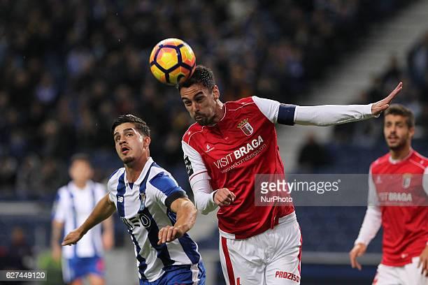 Braga's Portuguese defender Andre Pinto with Porto's Portuguese forward Andre Silva during the Premier League 2016/17 match between FC Porto and SC...
