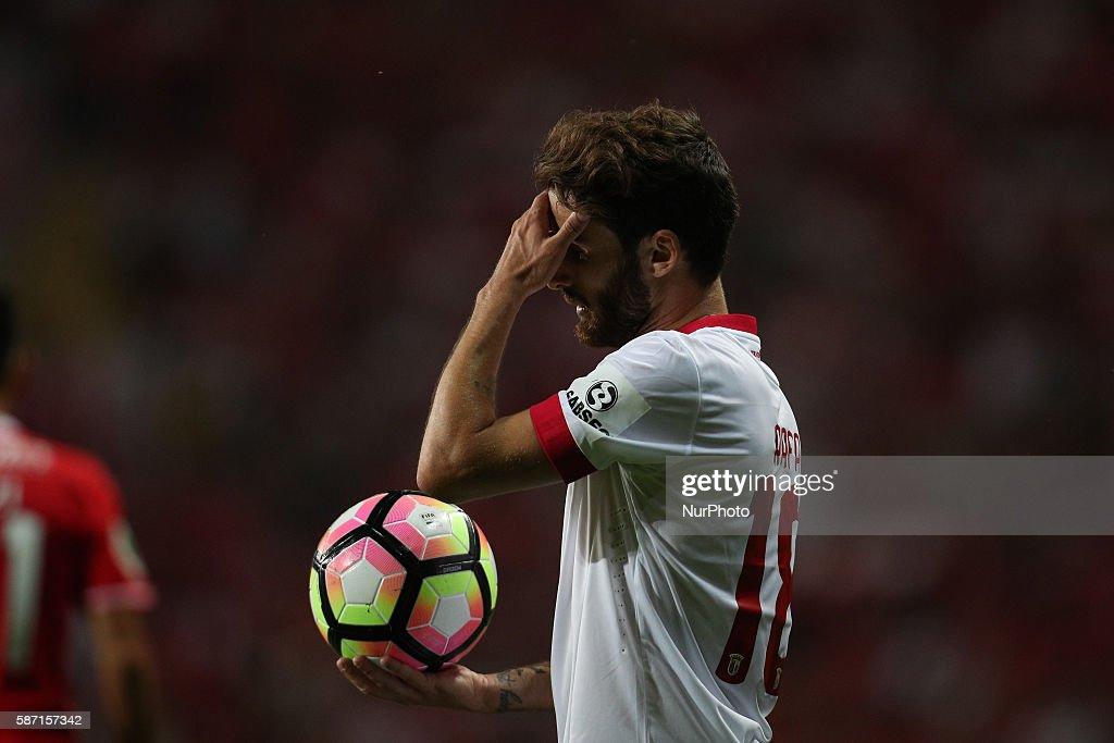 Braga's Portuguese forward Rafa Silva reacts after missing a goal during the Candido de Oliveira Super Cup, match between SL Benfica and SC Braga, in Municipal de Aveiro Stadium in Aveiro on August 7, 2016.