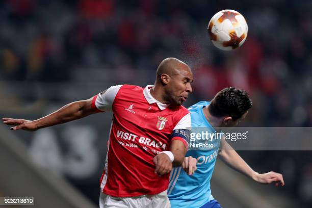 Braga's Portuguese forward Wilson Eduardo heads the ball with Marseille's Argentinian midfielder Lucas Ocampos during the UEFA Europa League match...