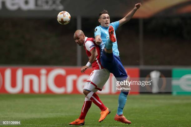 Braga's Portuguese forward Wilson Eduardo vies for the ball with Marseille's Argentinian midfielder Lucas Ocampos during the UEFA Europa League match...