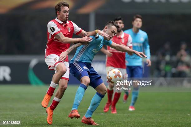 Braga's Portuguese midfielder Andre Horta vies for the ball with Marseille's Argentinian midfielder Lucas Ocampos during the UEFA Europa League match...