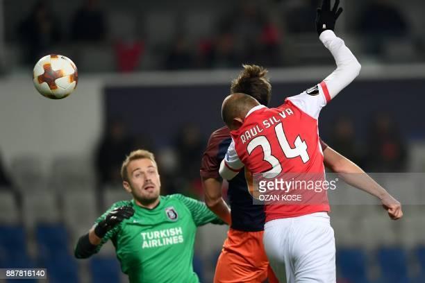 Braga`s Raul Silva heads the ball and scores a goal past Basaksehir's goalkeeper Mert Gunok during the UEFA Europa League Group C football match...