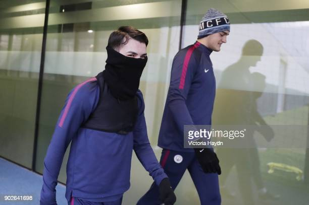 Brahim Diaz and Aro Muric walk to training at Manchester City Football Academy on January 8 2018 in Manchester England